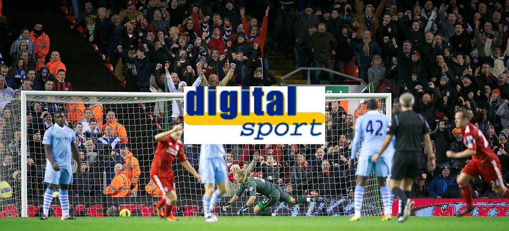 20111127: LIVERPOOL, ENGLAND - <br /> FC Liverpool vs Manchester City: English Premier League 2011/2012.<br /> In photo: Goalkeeper Joe Hart looks dejected as Liverpool's Charlie Adam scores the equalising 1-1 goal, after a massive deflection by Joleon Lescott.<br />  PHOTO: CITYFILES
