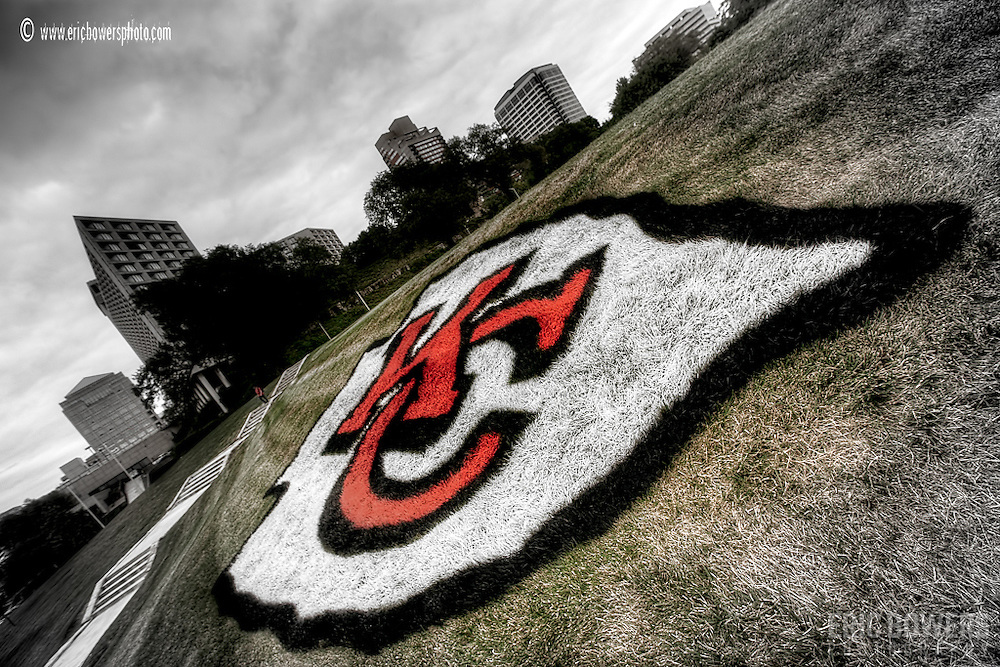 Kansas City Chiefs Logo near the start of the 2010 season painted on the grass near Liberty Memorial and Union Station.