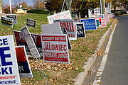 SOUTHINGTON, CT - 02 NOVEMBER 2010 -.Political signs cover the lawn in front of Derynoski Elementary School, a polling location in Southington, on Tuesday. .Photo by Josalee Thrift