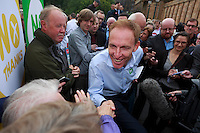 Jim Murphy shake hands with the public.<br /> MP to resume referendum campaign tour. Jim Murphy to make the case for the United Kingdom during his 100 Streets in 100 Days project<br /> Pako Mera/Universal News And Sport (Europe) 02/09/2014