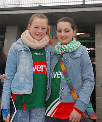Aoife O'Neill and Rossie Smith from Ballinrobe at McHale park for the Mayo v Kerry national football league encounter. Pic Conor McKeown