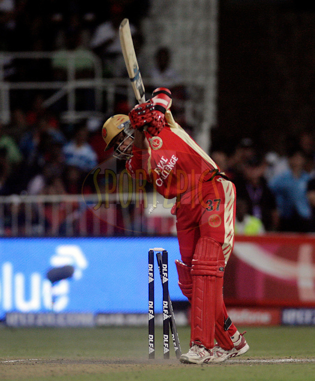 DURBAN, SOUTH AFRICA - 1 May 2009. Anil Kimble is bowled during the IPL Season 2 match between Kings X1 Punjab and the Royal Challengers Bangalore held at Sahara Stadium Kingsmead, Durban, South Africa...