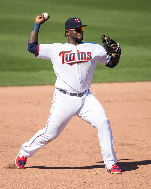 FORT MYERS, FL- FEBRUARY 26: Miguel Sano #22 of the Minnesota Twins throws against the Washington Nationals on February 26, 2017 at Hammond Stadium in Fort Myers, Florida. (Photo by Brace Hemmelgarn) *** Local Caption *** Miguel Sano