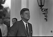 President Kennedy leaving the U.S. Emabssy in Dublin after talks with An Taoiseach Seán Lemass.  The President then left for a visit to his ancestral home in Wexford 27.06.1963. john f kennedy images, john f kennedy president, john f kennedy photos,<br />