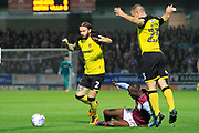 Burton Albion defender John Brayford (2) takes possession from Aston Villa midfielder Albert Adomah (37) during the EFL Sky Bet Championship match between Burton Albion and Aston Villa at the Pirelli Stadium, Burton upon Trent, England on 26 September 2017. Photo by Richard Holmes.