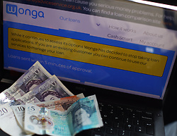 The home page of Wonga's company website with a message stating that they have stopped taking new loan applications, as the struggling payday lender teeters on the brink of collapse.
