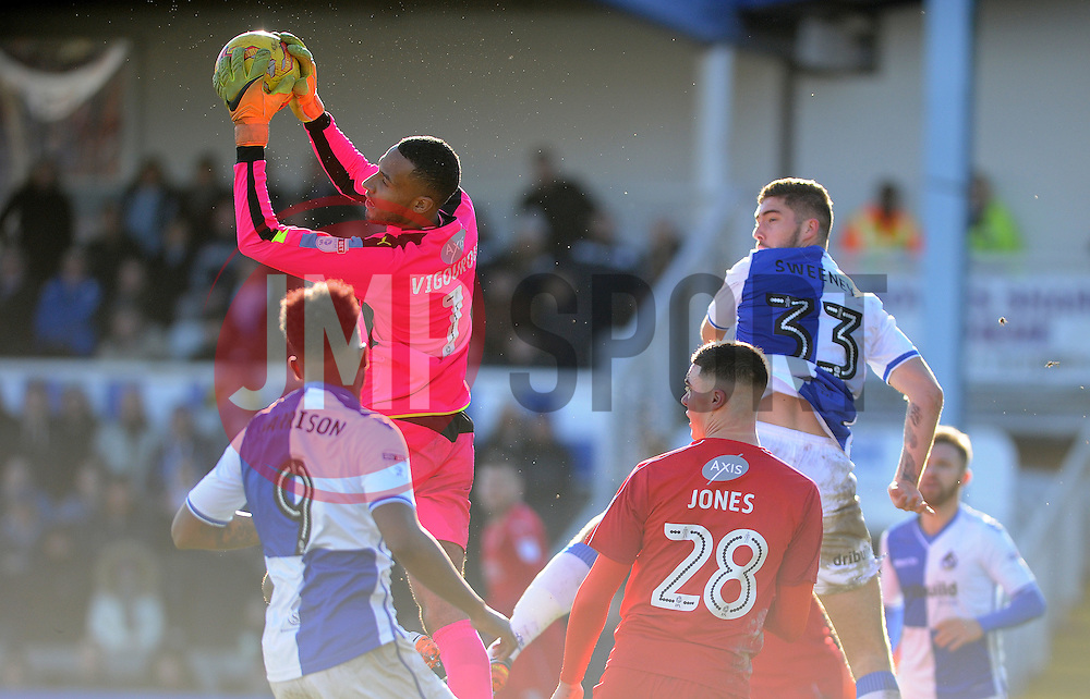 Lawrence Vigouroux of Swindon Town collects a high ball from Ellis Harrison and Ryan Sweeney of Bristol Rovers - Mandatory by-line: Neil Brookman/JMP - 28/01/2017 - FOOTBALL - Memorial Stadium - Bristol, England - Bristol Rovers v Swindon Town - Sky Bet League One