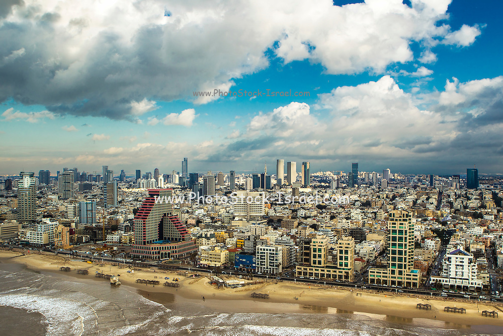 Aerial view of Tel Aviv, Israel from west over the Mediterranean Sea