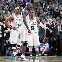 10 May 2012: Boston Celtics point guard Rajon Rondo (9) talks to Boston Celtics power forward Kevin Garnett (5) and Boston Celtics small forward Paul Pierce (34) during the Boston Celtics 83-80 victory over the Atlanta Hawks, in Game 6 of the Eastern Conference first-round playoff series, at the TD Banknorth Garden, Boston, Massachusetts, USA.