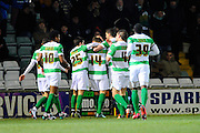 Yeovil Town's Jack Compton celebrates scoring Yeovil's operning goal with his team mates during the The FA Cup Third Round Replay match between Yeovil Town and Carlisle United at Huish Park, Yeovil, England on 19 January 2016. Photo by Graham Hunt.