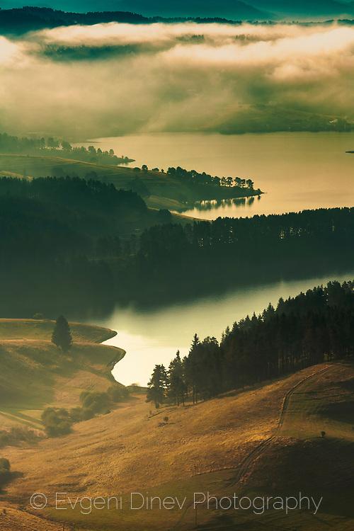 Dospat lake in Rhodope Mountains at autumn morning