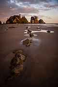 In Makah territory on the Olympic Peninsula, one of the most dramatic beaches on a very dramatic coastline in the Pacific Northwest. With its stunning seastacks, caves and arches, as well as fascinating marine life in numerous tidepools, it's a truly beautiful place.