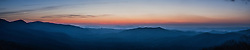 Sunrise panorama of Pisgah National Forest seen from the Blue Ridge Parkway near Pisgah Forest, North Carolina.