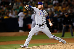 OAKLAND, CA - SEPTEMBER 21:  Jeffrey Springs #54 of the Texas Rangers pitches against the Oakland Athletics during the eighth inning at the RingCentral Coliseum on September 21, 2019 in Oakland, California. The Oakland Athletics defeated the Texas Rangers 12-3. (Photo by Jason O. Watson/Getty Images) *** Local Caption *** Jeffrey Springs