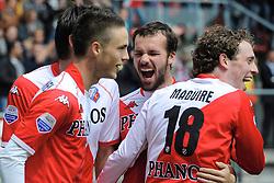 16-05-2010 VOETBAL: FC UTRECHT - RODA JC: UTRECHT<br /> FC Utrecht verslaat Roda in de finale van de Play-offs met 4-1 en gaat Europa in / Ricky van Wolfswinkel, Jacob Lenski, Dries Mertens en Barry Maguire<br /> ©2010-WWW.FOTOHOOGENDOORN.NL