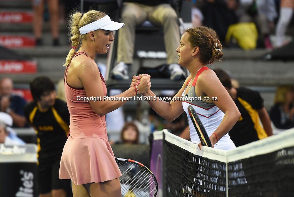 Denmark's Caroline Wozniacki and Czech player Barbora Zahlavova Strycov during Semi Finals day at the ASB Classic WTA International. ASB Tennis Centre, Auckland, New Zealand. Friday 9 January 2015. Copyright photo: Andrew Cornaga/www.photosport.co.nz