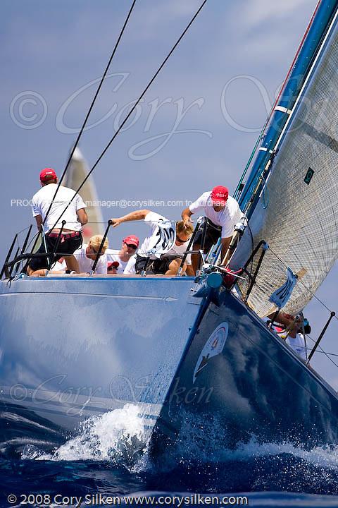 Aquarius sailing Race 4 at Antigua Sailing Week.