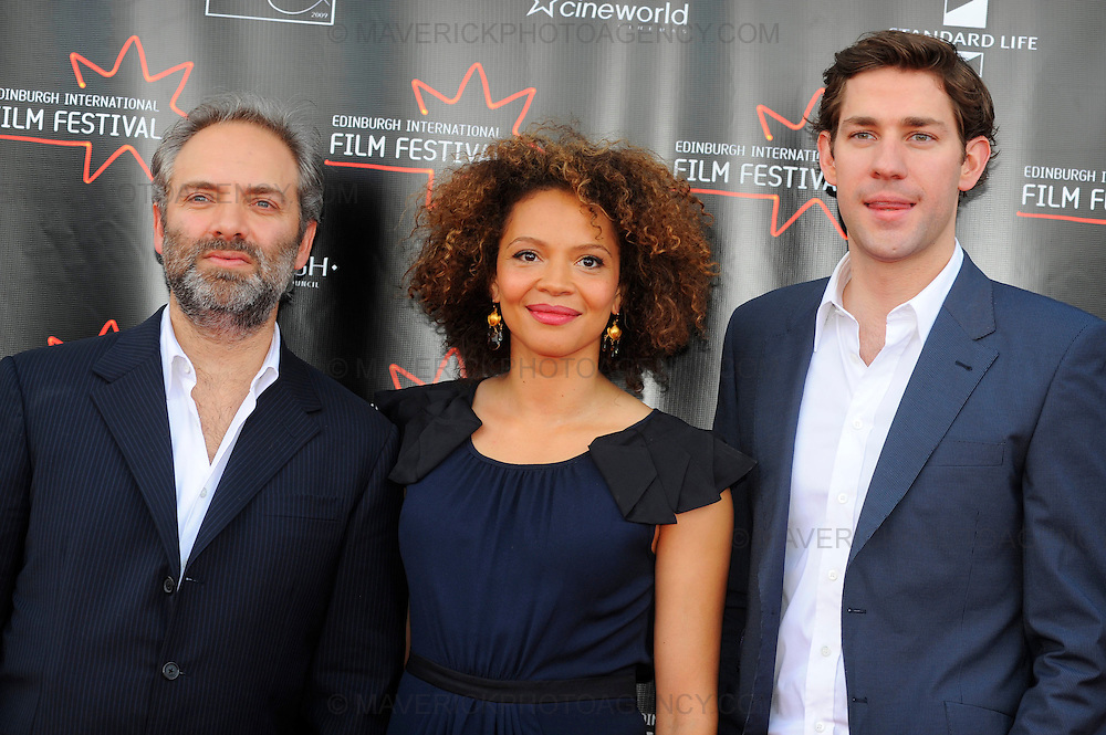 Stars turned out for the premier of Director Sam Mendes new film Away We Go which opened the 2009 Edinburgh Film Festival.  Pictured Director Sam Mendes with actors Carmen Ejogo and John Krasinski.
