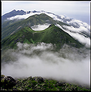 View from the summit of Mount Rausu, the highest mountain on the Shiretoko Peninsula and an active volcano, Hokkaido, Japan, an UNESCO World Heritage Site.