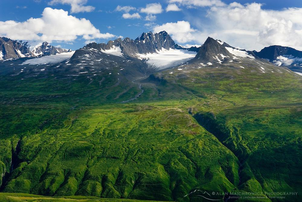 Peaks of the Chugach Mountains near Thompson Pass Alaska USA