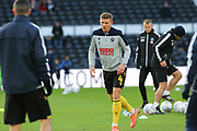 *Millwall defender Shaun Hutchinson (4) in the warm up during the EFL Sky Bet Championship match between Derby County and Millwall at the Pride Park, Derby, England on 14 December 2019.