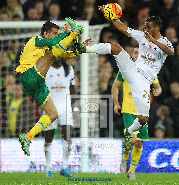 Gary O&rsquo;Neil of Norwich and Kyle Naughton of Swansea City in action during the Barclays Premier League match at Carrow Road, Norwich<br /> Picture by Paul Chesterton/Focus Images Ltd +44 7904 640267<br /> 07/11/2015
