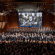 November 11, 2012 - New York, NY : Members of the Metropolitan Opera Orchestra and The New York Choral Society, the entire ensemble, and conductor Patrick Summers, center, take a bow after performing during the 2012 Richard Tucker Gala and concert in Lincoln Center's Avery Fisher Hall on Sunday evening. CREDIT: Karsten Moran for The New York Times