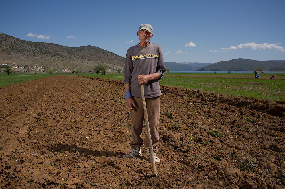 Maki Mihail (66) in his field near Kallamas, Albania