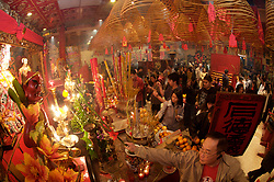 Stock photo of many people inside the temple celebrating Chinese New Year in downtown Houston Texas