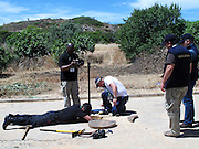 Scotland Yard forensic technicians search drains in Praia da Luz as police continue to look for the  body of Maddie McCann. <br /> ©Exclusivepix