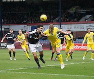 Dundee&rsquo;s Julen Etxabeguren and St Johnstone&rsquo;s Brian Easton battle for the ball in the air - Dundee v St Johnstone in the Ladbrokes Scottish Premiership at Dens Park, Dundee - Photo: David Young, <br /> <br />  - &copy; David Young - www.davidyoungphoto.co.uk - email: davidyoungphoto@gmail.com