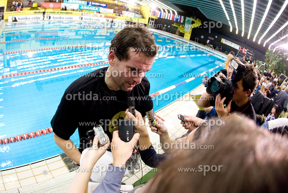 Peter Mankoc of PK Ilirija (SLO) with journalists after he won during the 50m Butterfly at the swimming competition Ilirija Challenge 2009, on December 16, 2009, in Tivoli pool, Ljubljana, Slovenia. (Photo by Vid Ponikvar / Sportida)