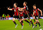 AFC Bournemouth midfielder Harry Arter celebrates after scoring the opening goal during the Barclays Premier League match between Bournemouth and West Ham United at the Goldsands Stadium, Bournemouth, England on 12 January 2016. Photo by Graham Hunt.
