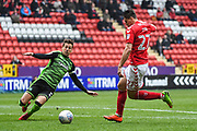 Charlton Athletic Midfielder Michal Zyro (27) and Plymouth Argyle Defender Gary Sawyer (3) battle for the ball during the EFL Sky Bet League 1 match between Charlton Athletic and Plymouth Argyle at The Valley, London, England on 24 March 2018. Picture by Stephen Wright.