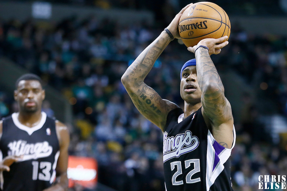 30 January 2013: Sacramento Kings point guard Isaiah Thomas (22) is seen at the free throw line during the Boston Celtics 99-81 victory over the Sacramento Kings at the TD Garden, Boston, Massachusetts, USA.