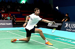 Chris Coles (Capt) of Bristol Jets plays a back handed shot - Photo mandatory by-line: Robbie Stephenson/JMP - 07/11/2016 - BADMINTON - University of Derby - Derby, England - Team Derby v Bristol Jets - AJ Bell National Badminton League