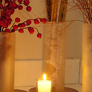Detail of Spa interior and products. Candle in Spa