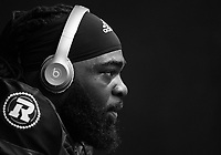 OTTAWA, ON - JUN 21: Offensive Lineman SirVincent Rogers (#55) prepares for the CFL match between the Ottawa RedBlacks and the Saskatchewan Roughriders at TD Place Stadium in Ottawa, ON. Canada on June 21, 2018.<br />