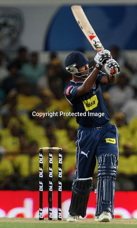 Deccan Chargers Batsman Tirumalasetti Suman Hit The Shot Against Chennai Super Kings During The Indian Premier League - 42nd match Twenty20 match  2009/10 season Played at Vidarbha Cricket Association Stadium, Jamtha, Nagpur 10 April 2010 - day/night (20-over match)