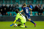 Kim Little (#8) of Scotland takes the ball around Eleni Ttakka (#1) of Cyprus to score Scotland's second goal (2-0) during the Women's Euro Qualifiers match between Scotland Women and Cyprus Women at Easter Road, Edinburgh, Scotland on 30 August 2019.