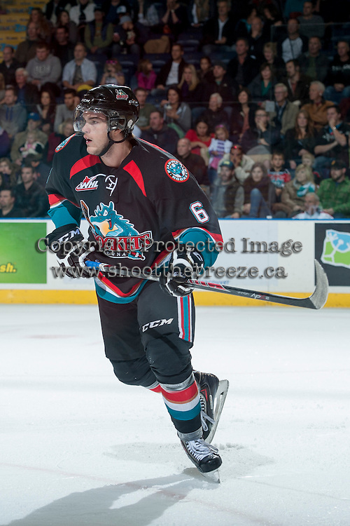 KELOWNA, CANADA - OCTOBER 19: Mitchell Wheaton #6 of the Kelowna Rockets skates on the ice against the Prince George Cougars on October 19, 2013 at Prospera Place in Kelowna, British Columbia, Canada.   (Photo by Marissa Baecker/Shoot the Breeze)  ***  Local Caption  ***