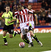 Photo: Mark Stephenson/Sportsbeat Images.<br /> Stoke City v Sheffield United. Coca Cola Championship. 10/11/2007.Stoke's Richard Cresswell on the ball from with David Carney ( B) and Nick Montgomery