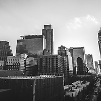 Austin Texas black and white panorama photo. Austin, TX is a major city in the Southwestern United States of America. Picture panorama ratio is 1:3 and was taken in 2016.