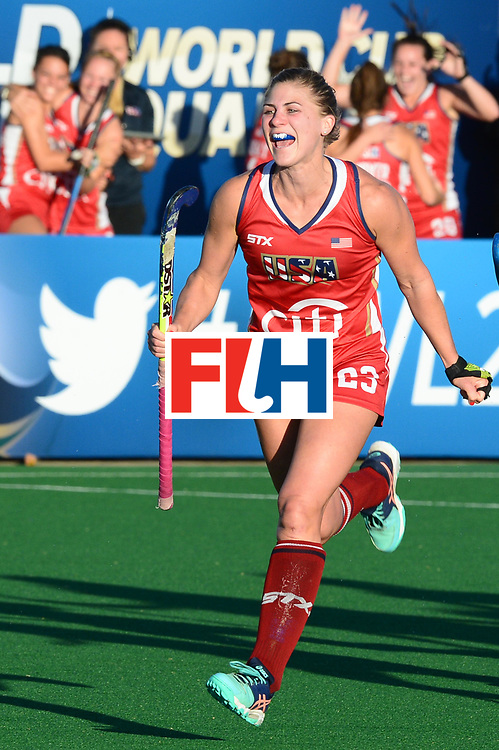 JOHANNESBURG, SOUTH AFRICA - JULY 23: Katelyn Ginolfi of United States of America celebrates the goal during day 9 of the FIH Hockey World League Women's Semi Finals, final  match between United States and Germany at Wits University on July 23, 2017 in Johannesburg, South Africa. (Photo by Getty Images/Getty Images)