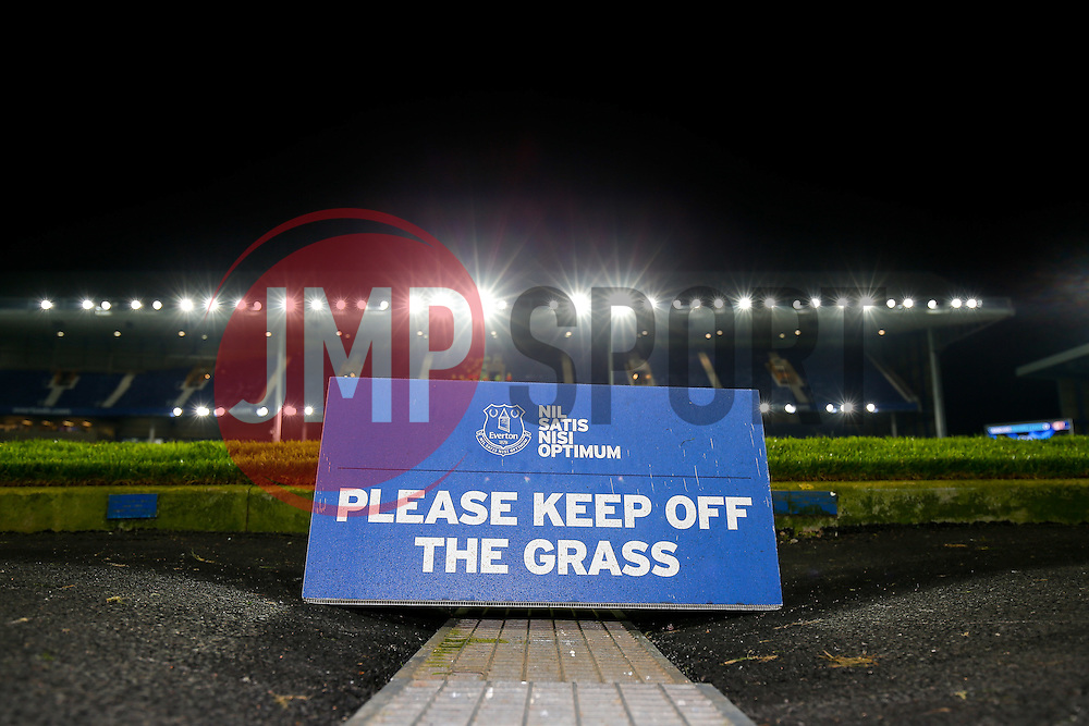 General View of a 'keep off the grass' sign inside Goodison Park - Photo mandatory by-line: Rogan Thomson/JMP - 07966 386802 - 03/12/2014 - SPORT - FOOTBALL - Liverpool, England - Goodison Park - Everton v Hull City - Barclays Premier League.