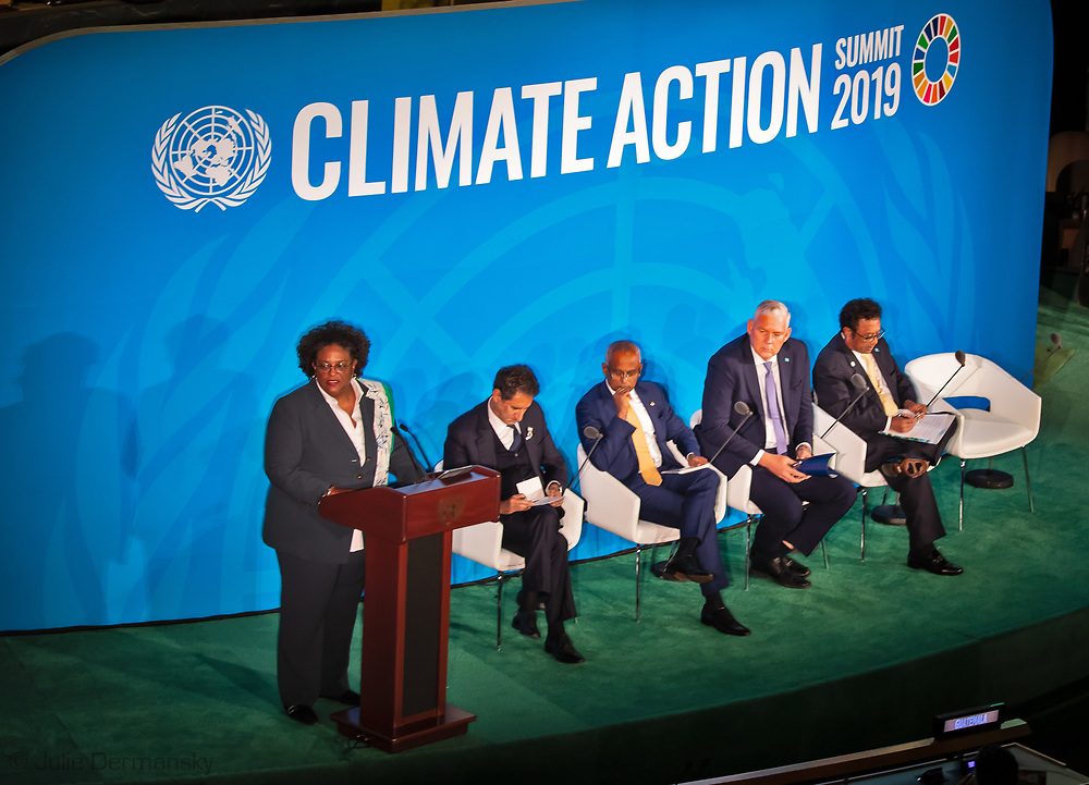 Mia Mottley, Barbados' prime minister, speaking during the United Nations Climate Action Summit in New York, U.S., on Monday, Sept. 23, 2019.