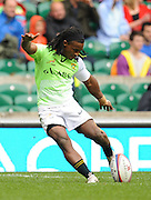LONDON, ENGLAND - Saturday 10 May 2014, Branco du Preez of South Africa converts a try during the match between South Africa and Scotland at the Marriott London Sevens rugby tournament being held at Twickenham Rugby Stadium in London as part of the HSBC Sevens World Series.<br /> Photo by Roger Sedres/ImageSA