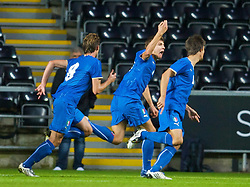 SWANSEA, ENGLAND - Friday, September 4, 2009: Italy's Alberto Paloschi celebrates scoring the first equalising goal against Wales during the UEFA Under 21 Championship Qualifying Group 3 match at the Liberty Stadium. (Photo by David Rawcliffe/Propaganda)