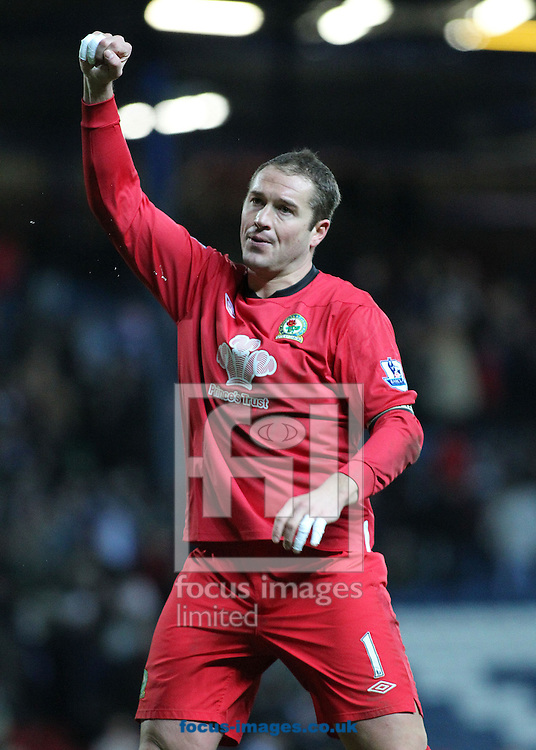 Picture by MIchael Sedgwick/Focus Images Ltd. 07900 363072.14/01/12.Paul Robinson of Blackburn applauds the home fans after his teams win against Fulham in the Barclays Premier League match at the Ewood Park stadium, Blackburn, Lancashire.
