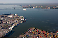 Seagirt and Dundalk Marine terminal aerial with key bridge and Carnival cruise ship  in background